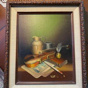 VTG Walters Oil on Board Violin Still Life Signed